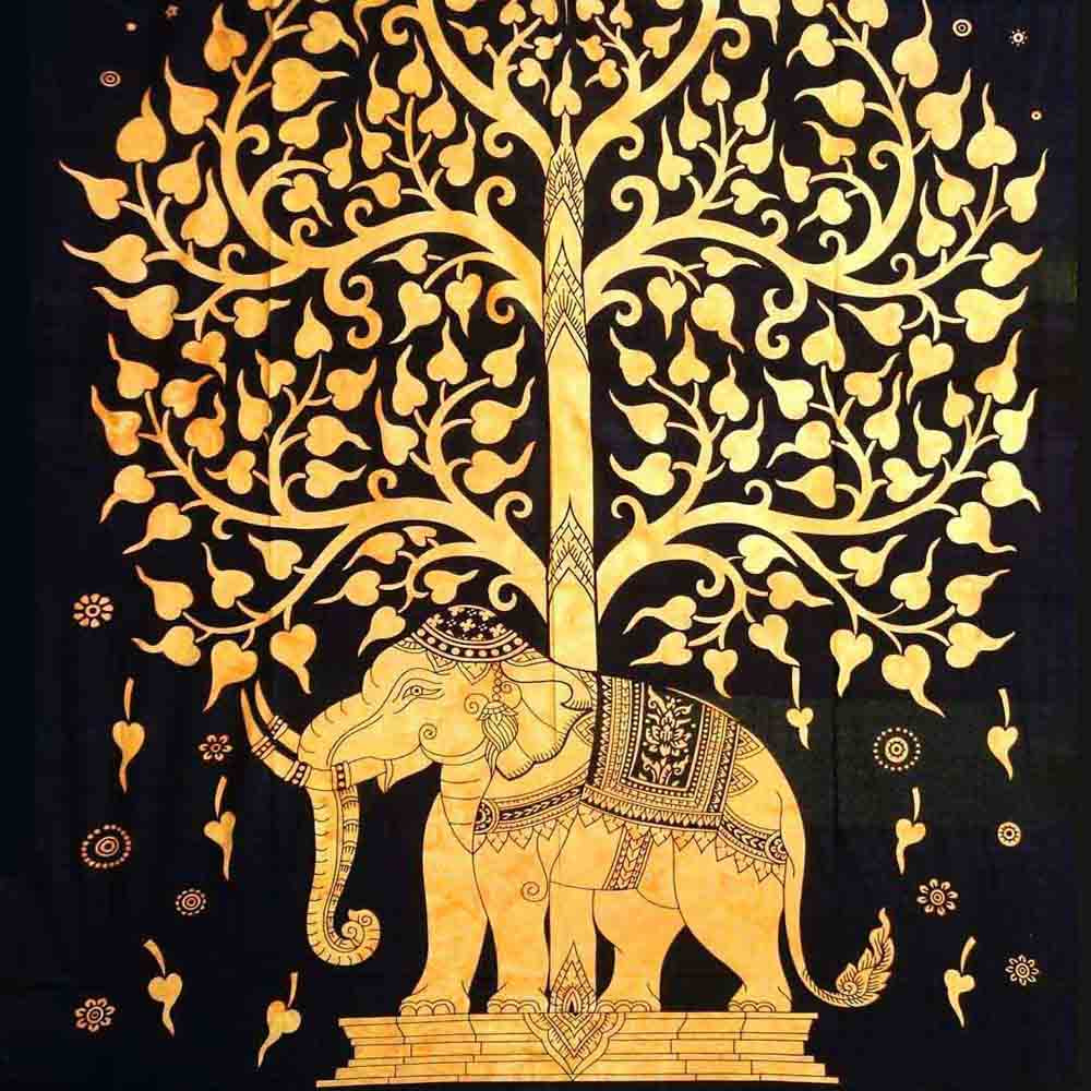 Yellow Elephant Tree Screen Printed Queen Twin Tapestry