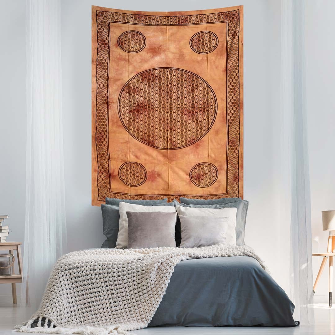 Brown Dye Flower of Life Screen Printed Queen Twin Tapestry