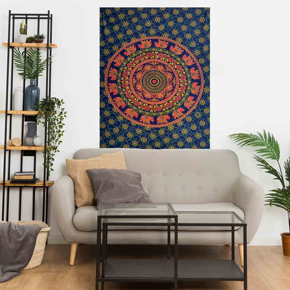 Blue Elephant Mandala Gumbad Small Cotton Screen Printed Wall Hanging Tapestry