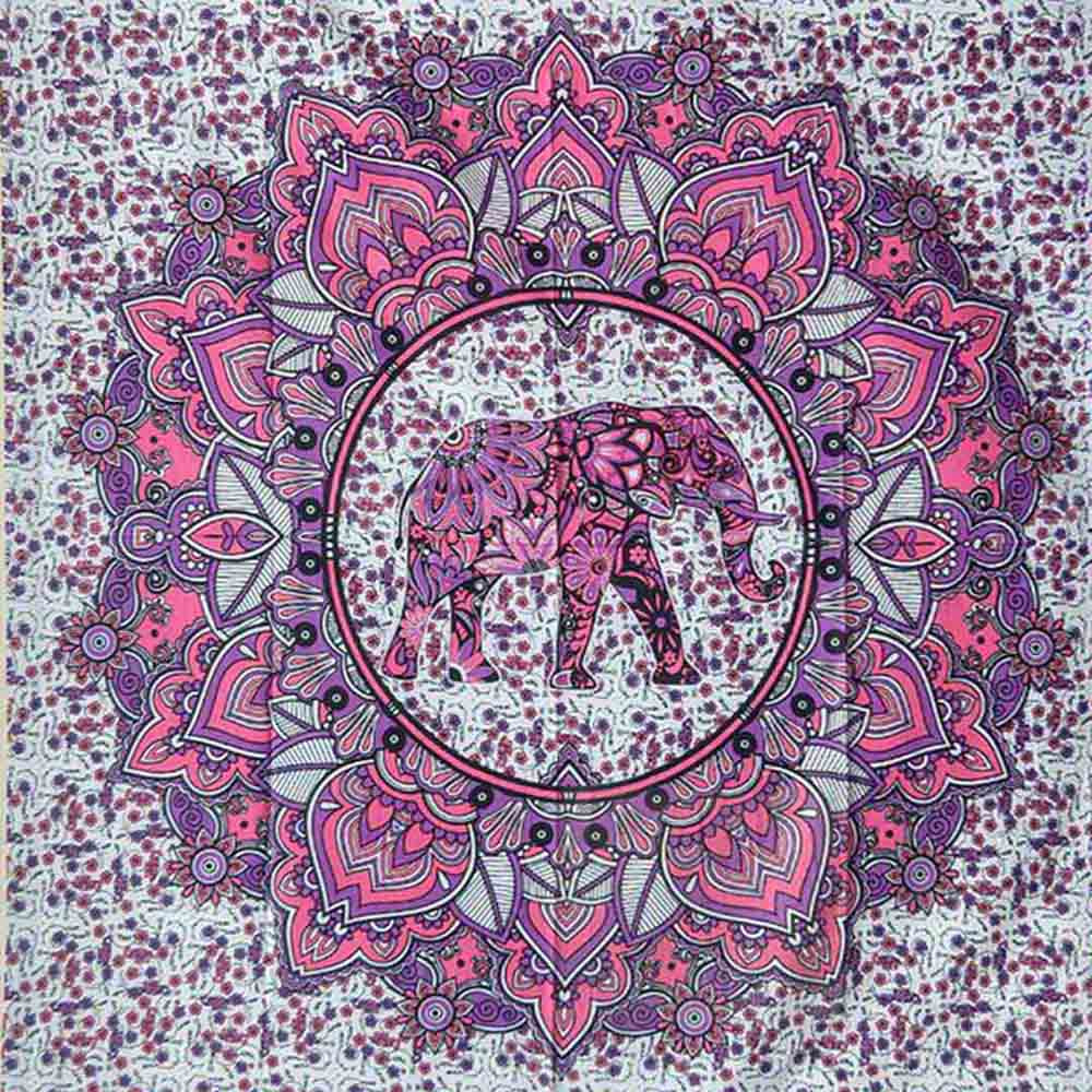 Elephant Lotus Pink Ombre Queen Twin Screen Printed Tapestry