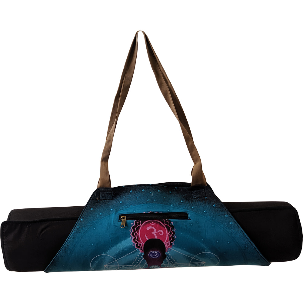 Turquoise Chakra On-The-Go Yoga Mat Bag Cotton Screen Printed