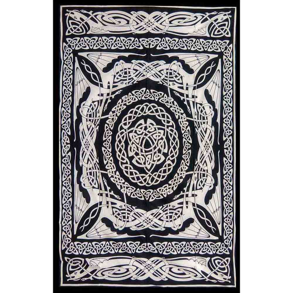 Black and White Celtic Dragon Screen Printed Queen Twin Tapestry
