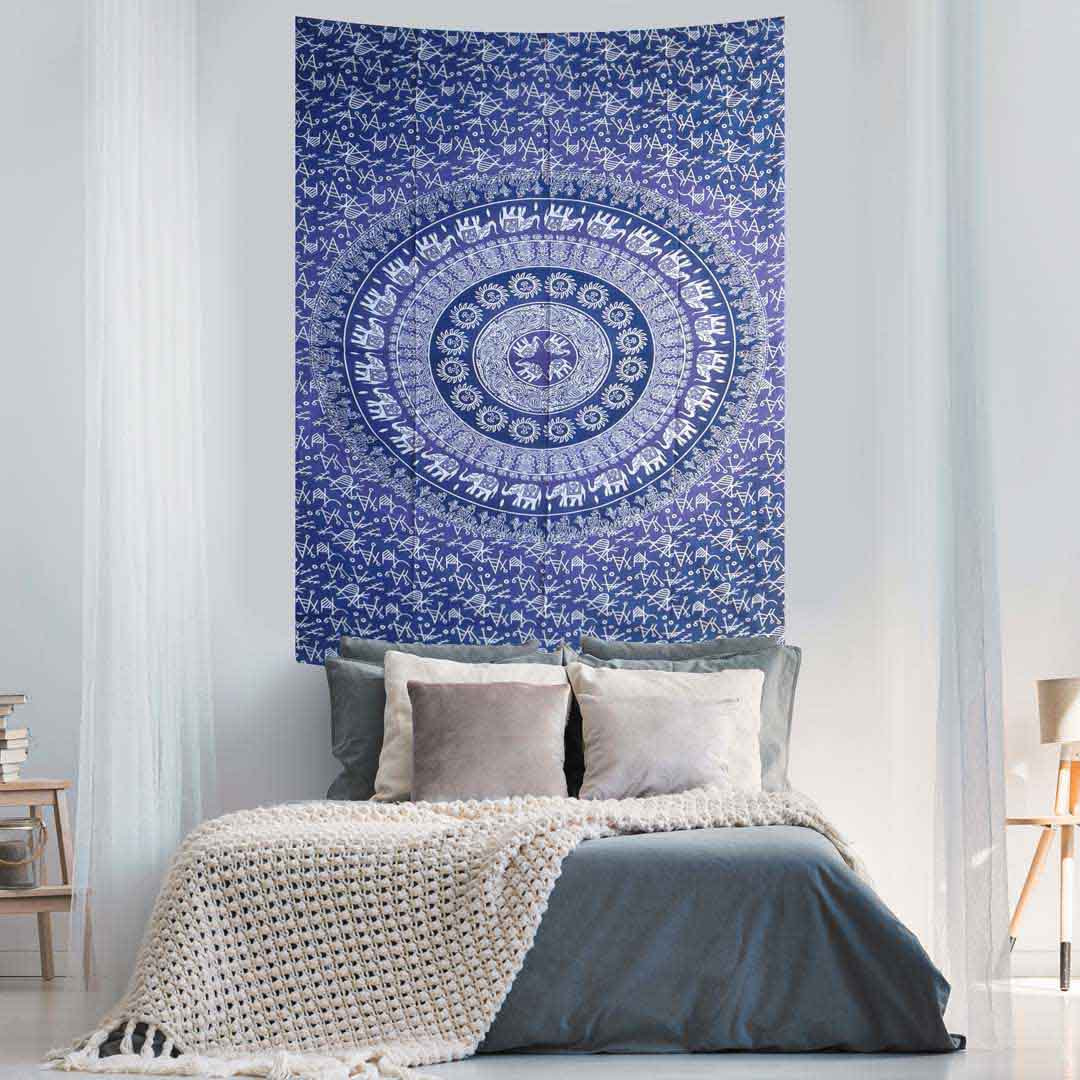 Elephant Mandala Ombre Purple Screen Printed Queen Twin Tapestry