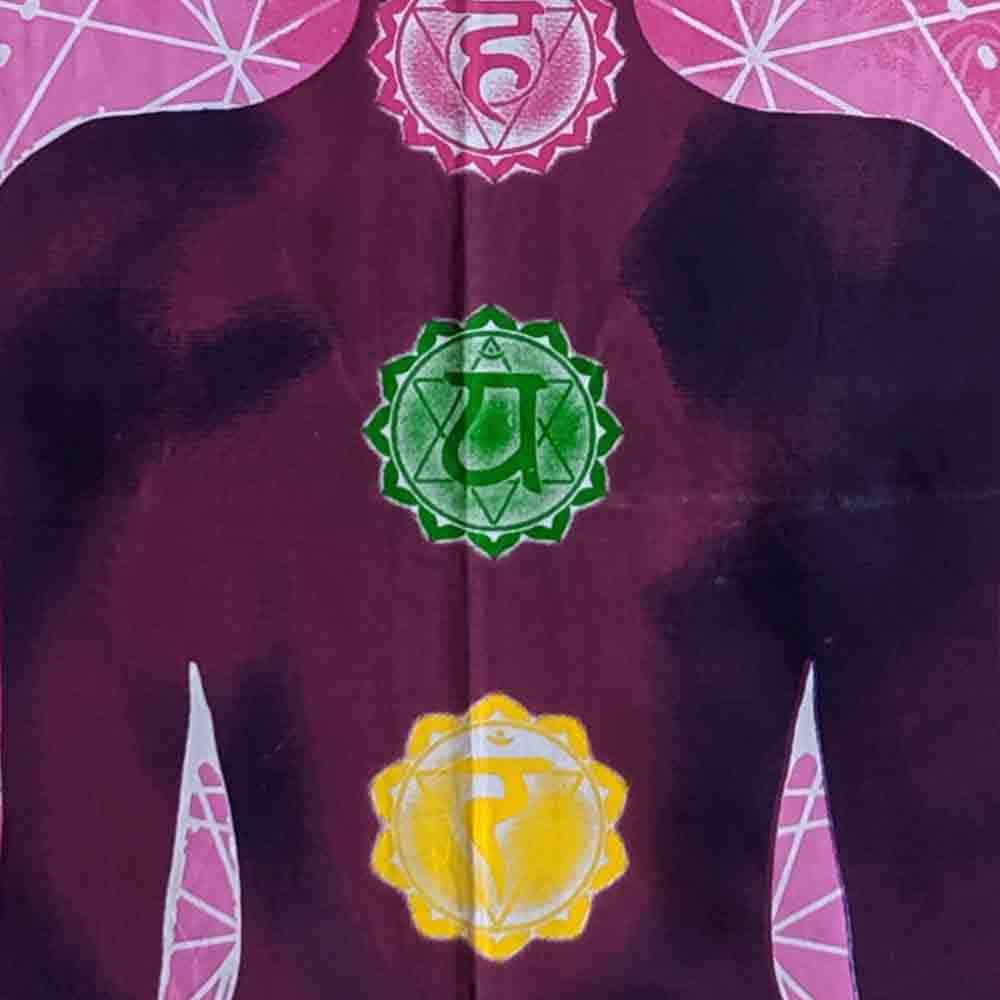 Pink Chakra Yoga Man Small Cotton Screen Printed Wall Hanging Tapestry