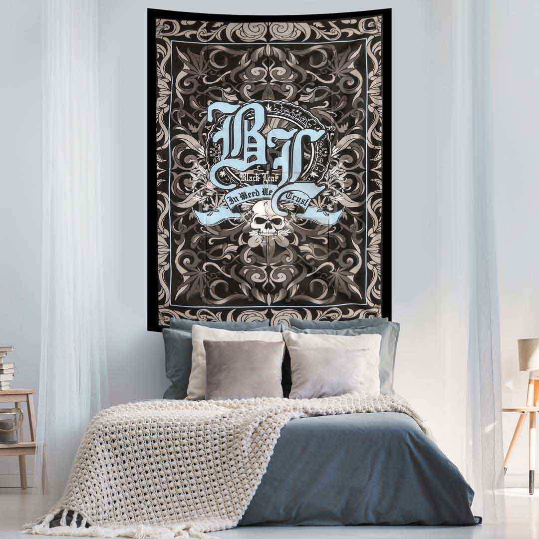 Black Leaf Weed Queen Twin Screen Printed Tapestry