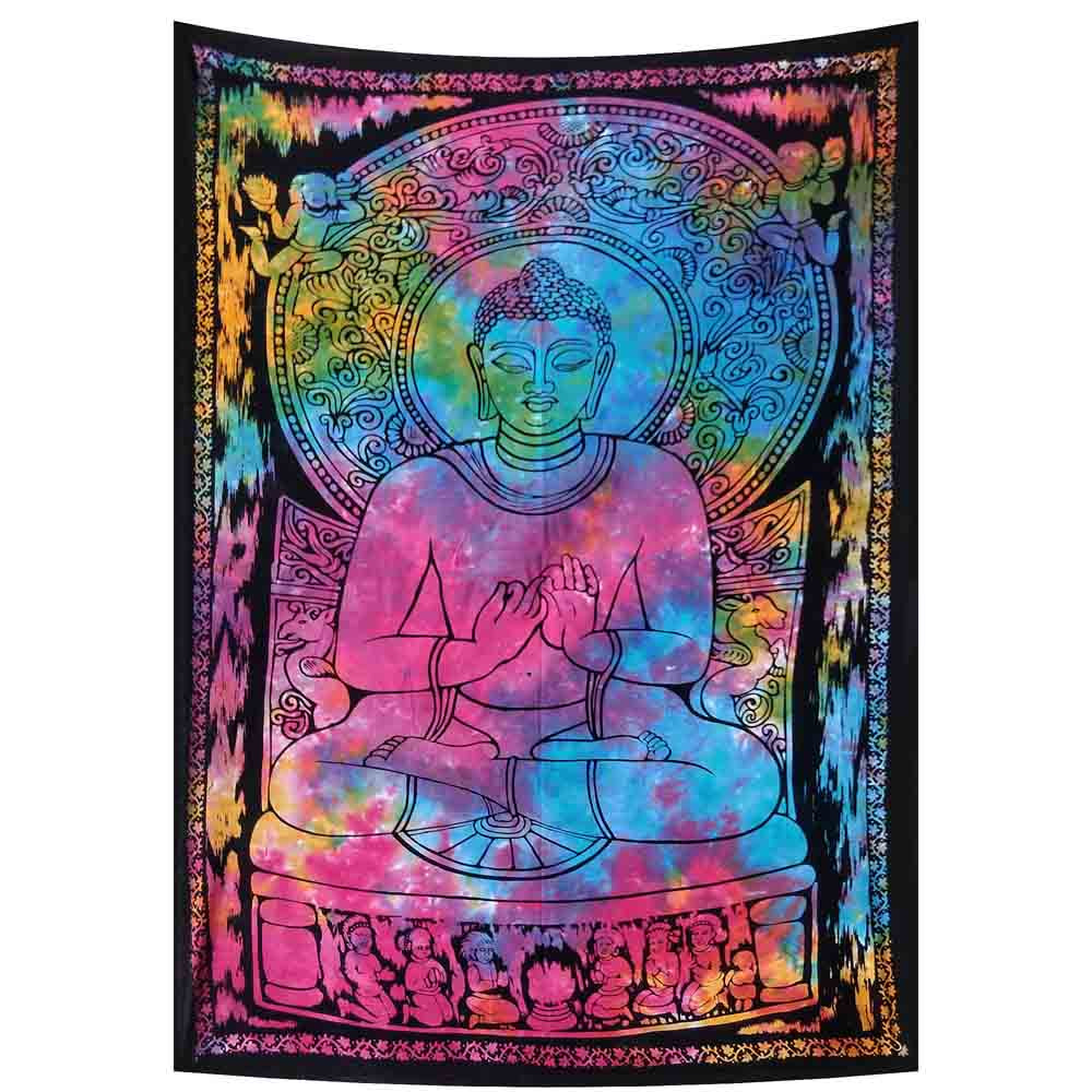 Buddha Tie Dye Small Cotton Screen Printed Wall Hanging Tapestry