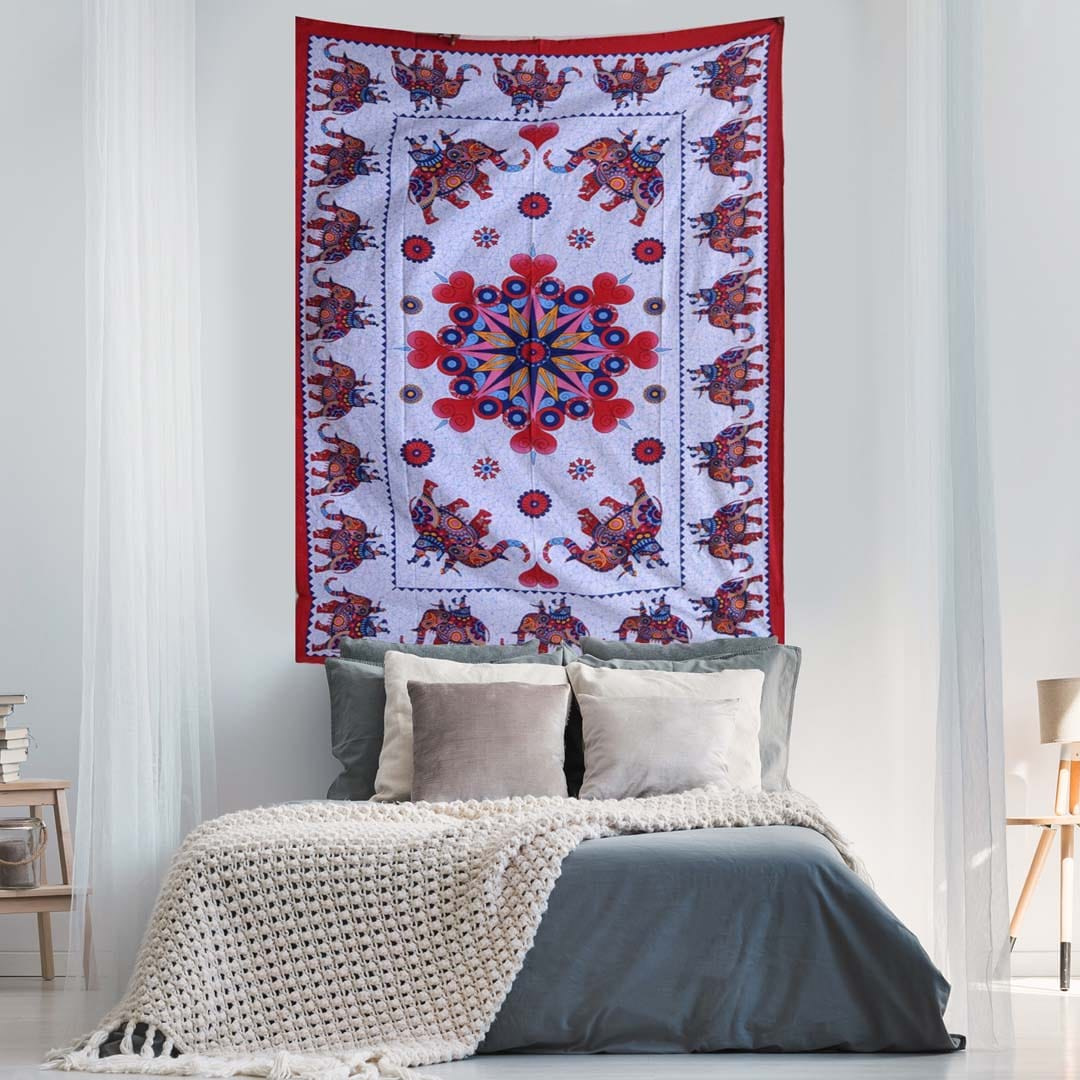 White Red Elephant Screen Printed Queen Twin Tapestry