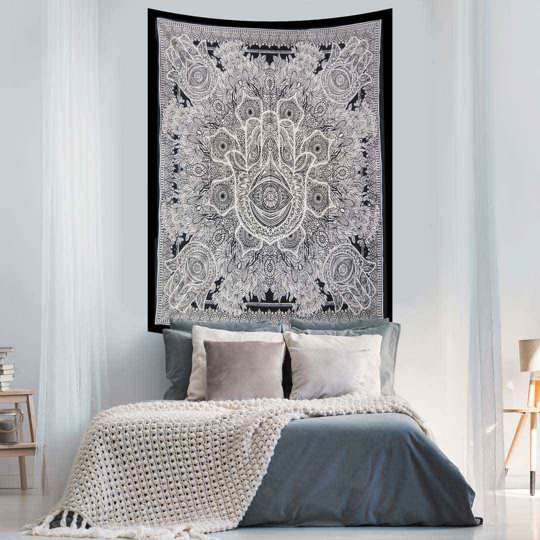 Hamsa Hand Black and White Screen Printed Tapestry