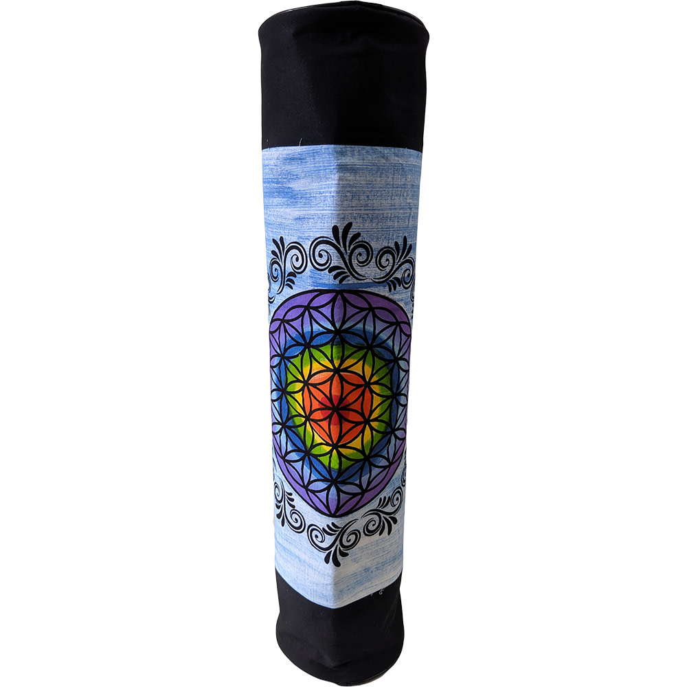Blue Purple Flower Of Life Duffle Yoga Mat Bag Cotton Hand Printed