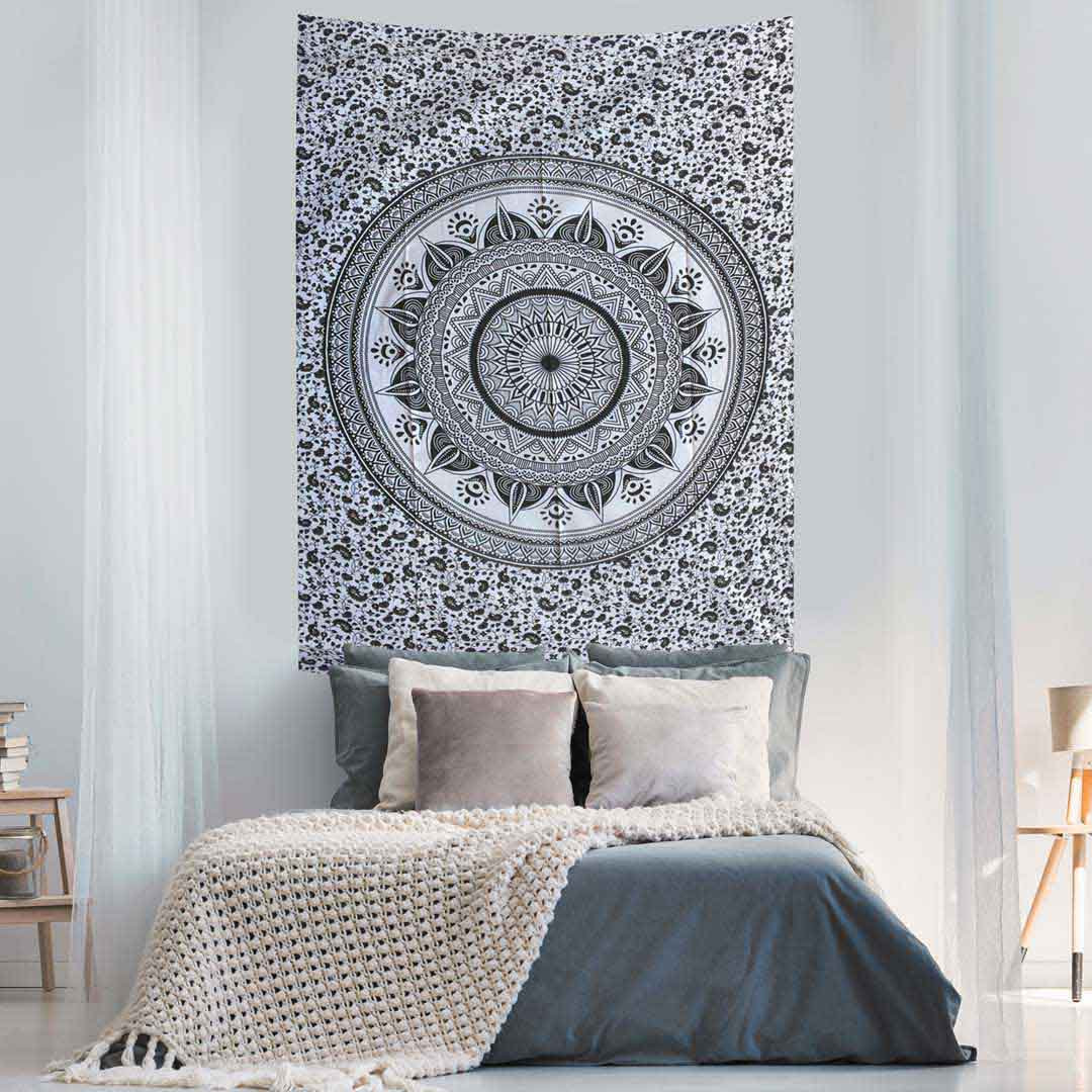Black and White Ombre Screen Printed Queen Twin Tapestry
