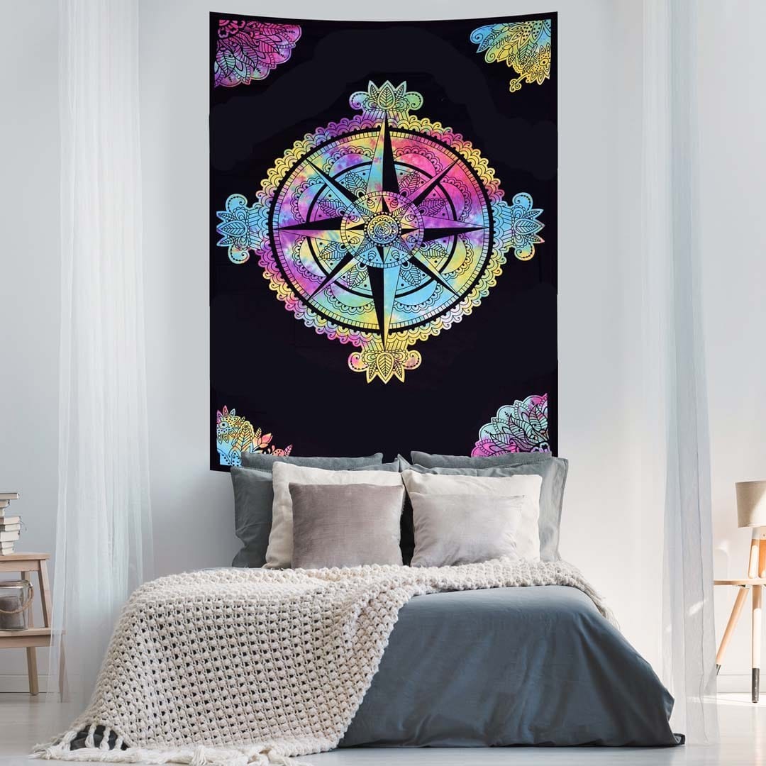 Black and White Compass Tye Dye Screen Printed Tapestry