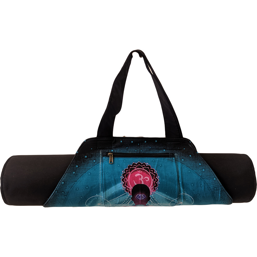 Turquoise Chakra Black Belt With Outer Zipper On-The-Go Yoga Mat Bag Cotton Screen Printed