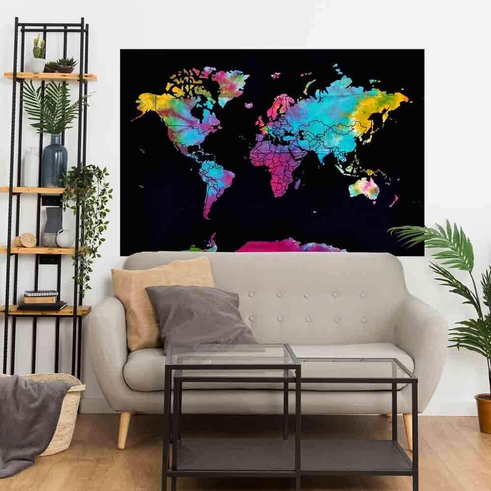 World Map Tie Dye Small Cotton Screen Printed Wall Hanging Tapestry