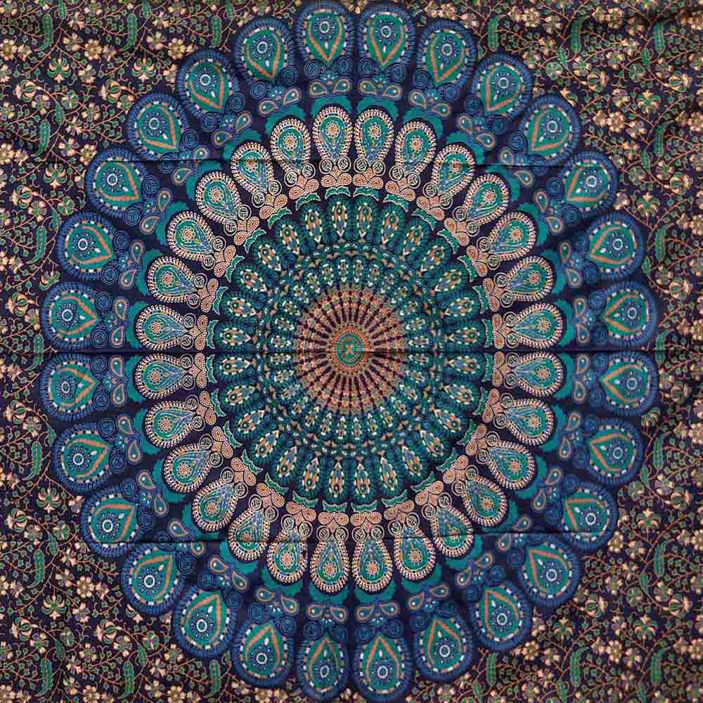 Blue Green Peacock Feather Mandala Screen Printed Tapestry