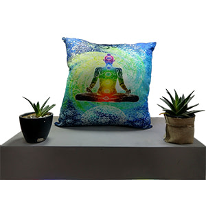 Multicolour Yoga Man Digital Cotton 16″ × 16″ Pillow