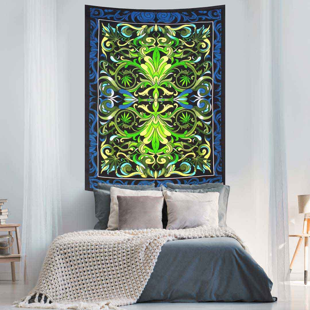 Cannabis Green and Blue Screen Print Queen Twin Tapestry