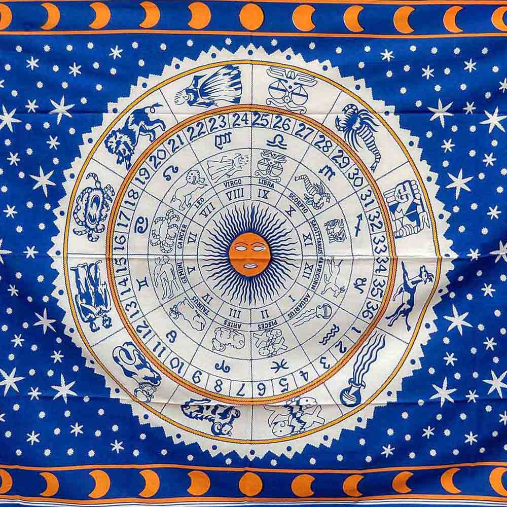 Blue Zodiac Moon Queen Twin Screen Printed Tapestry