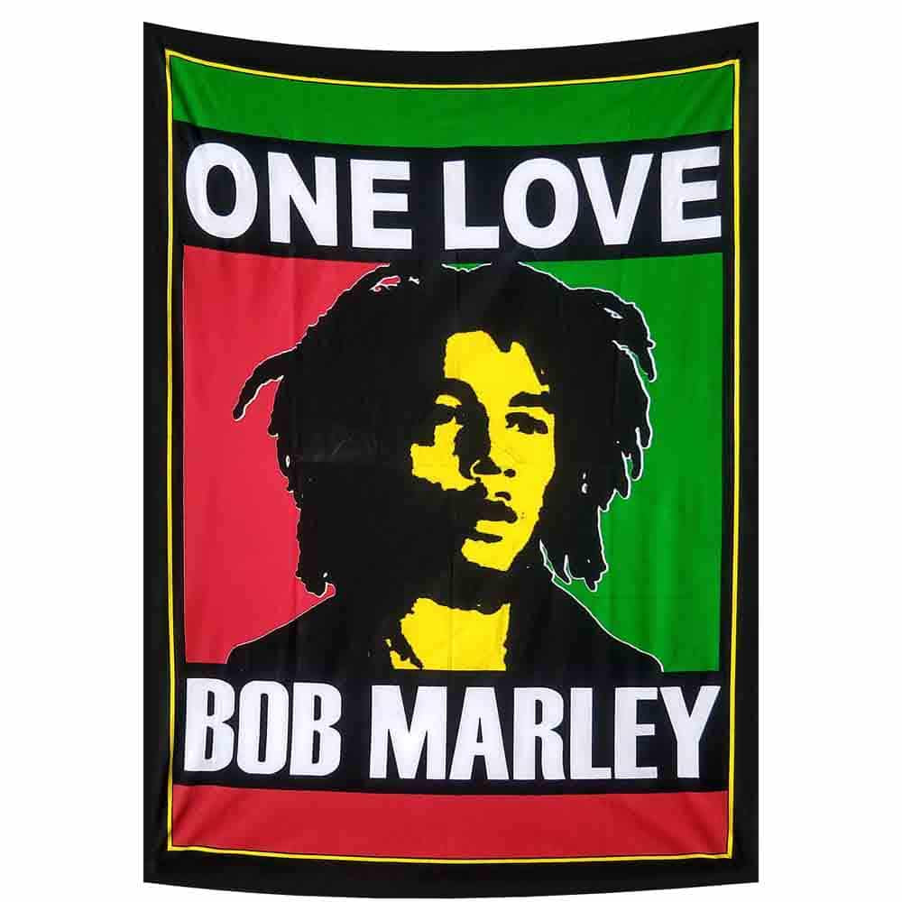 Bob Marley Rasta One Love Small Cotton Screen Printed Wall Hanging Tapestry