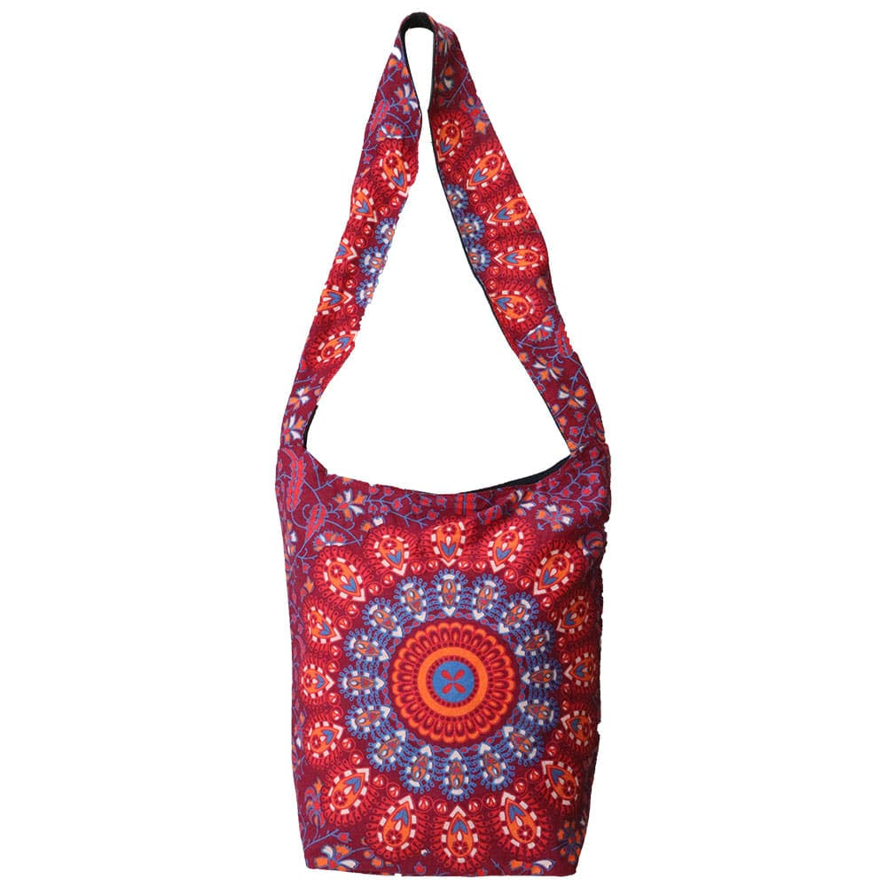 Maroon Mandala Cotton Tote Bag Screen Printed