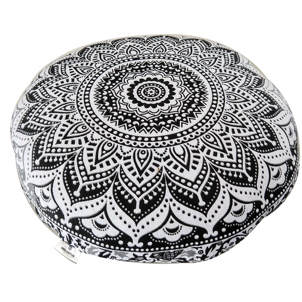 White Grey Screen Print Cotton Meditation Cushion