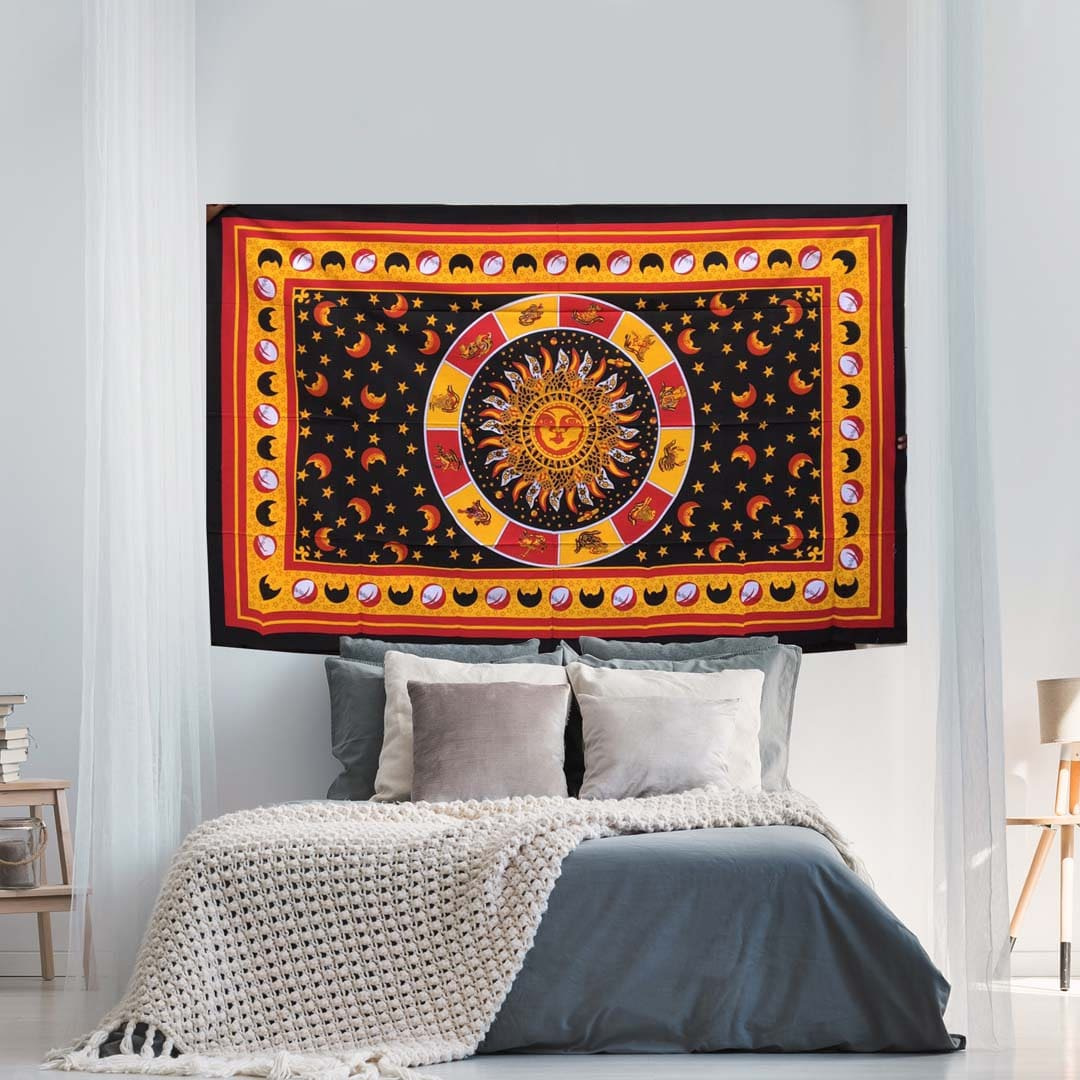 Orange Zodiac Sun Moon Star Queen Twin Screen Printed Tapestry