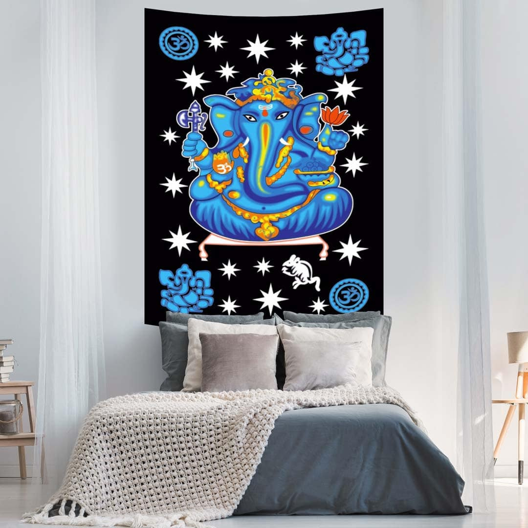 Ganesha Stars Blue Screen Printed Tapestry