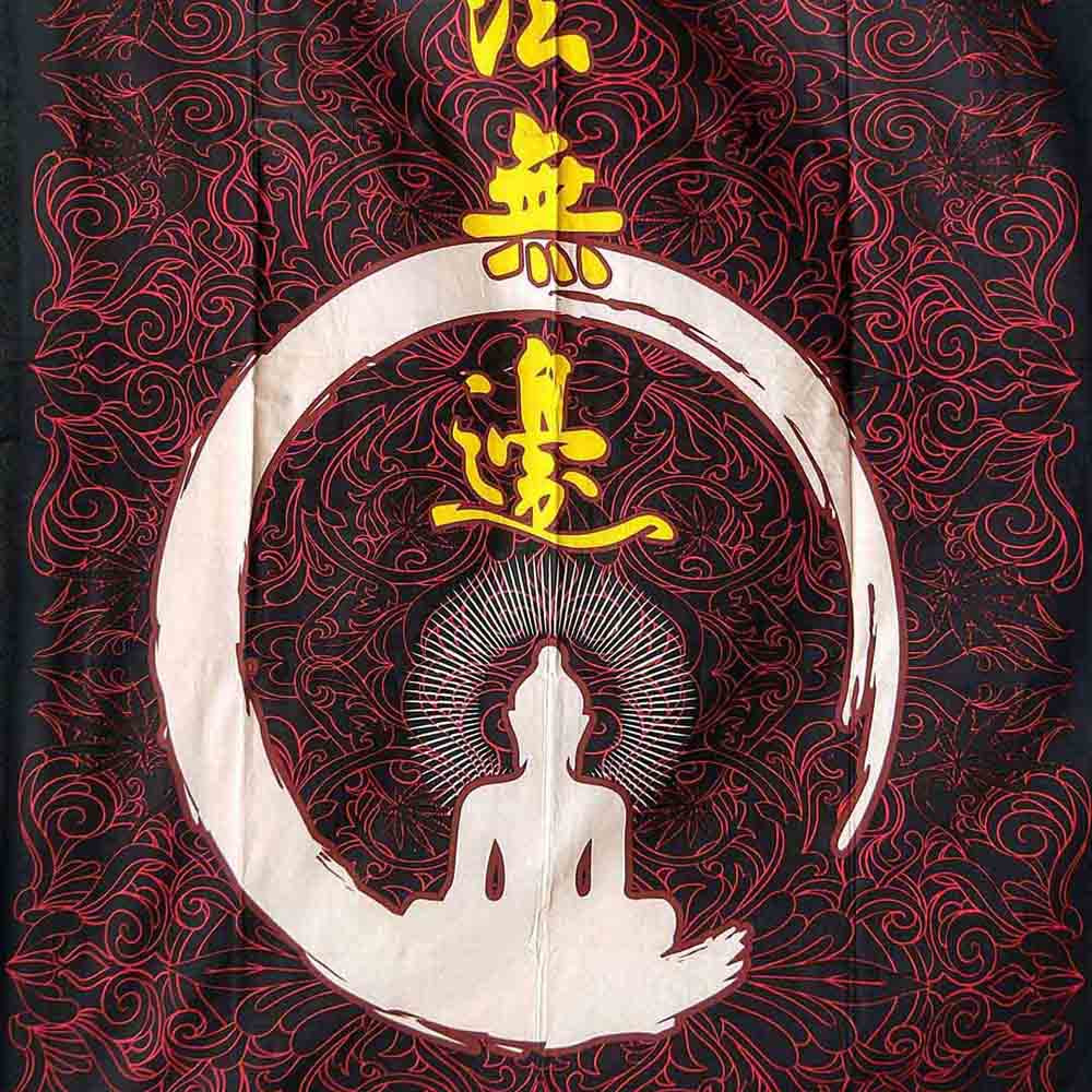 Red Black Leaf Buddha Queen Twin Screen Print Tapestry