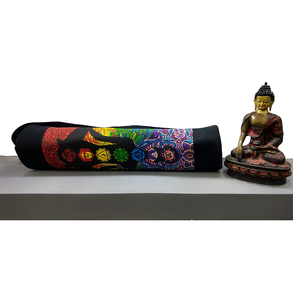 Multi Color Yoga Man Chakra Duffle Yoga Mat Bag Cotton Screen Printed
