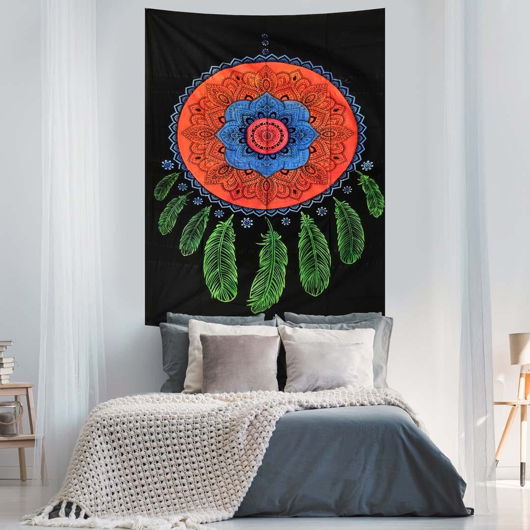 Dream Catcher Hand Brush Screen Printed Eight Feather Queen Twin Tapestry