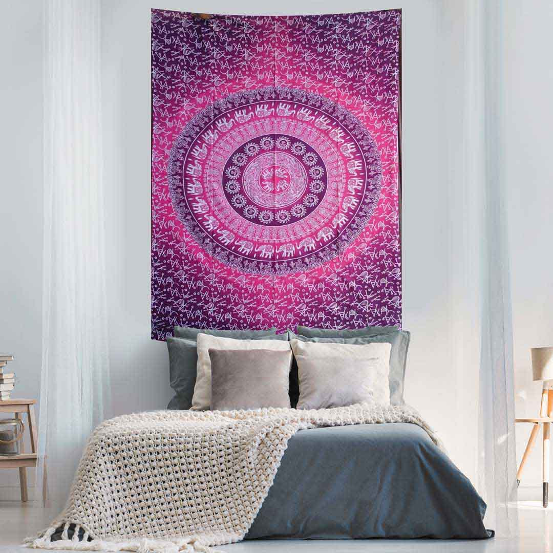 Elephant Mandala Ombre Pink Red Screen Printed Queen Twin Tapestry