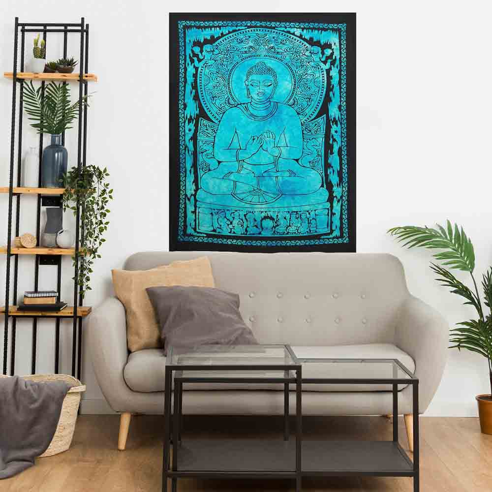 Blue Lotus Buddha Small Cotton Screen Printed Wall Hanging Tapestry