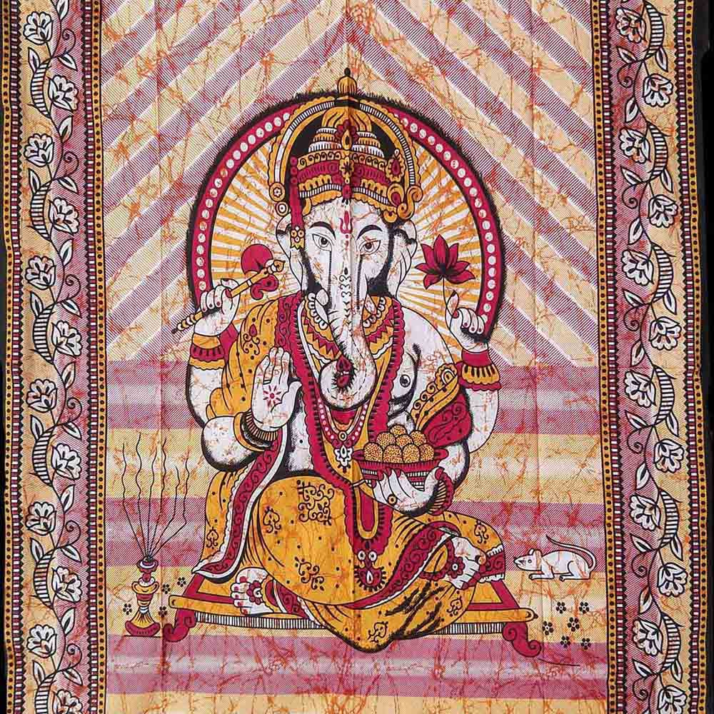 Ganesha Brown Batik Screen Printed Tapestry