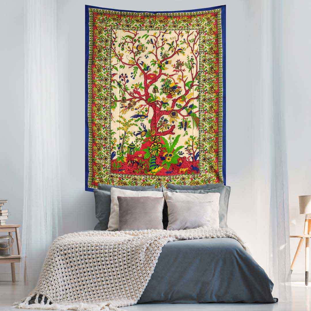 Multicolor Tree of Life Screen Printed Queen Twin Tapestry