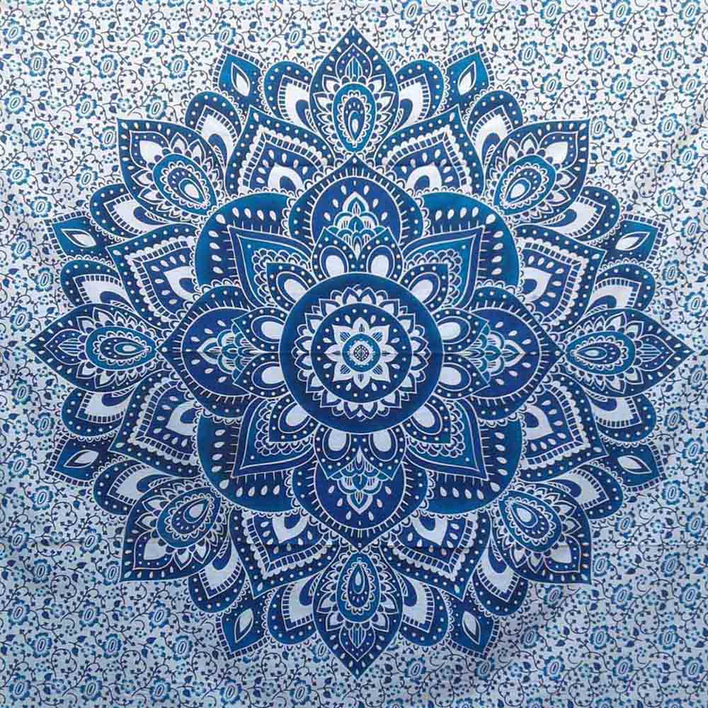 Blue Ombre Screen Printed Queen Twin Tapestry