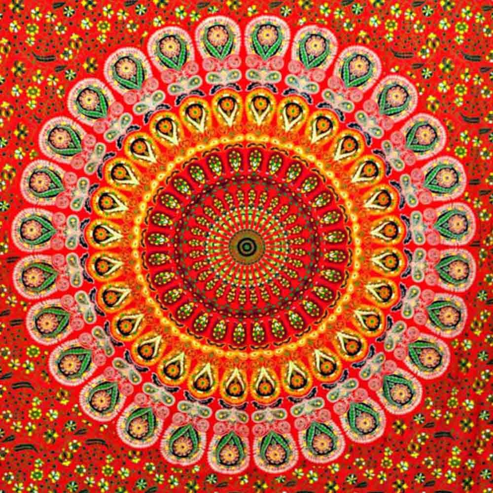 Red Green Peacock Feather Mandala Screen Printed Tapestry