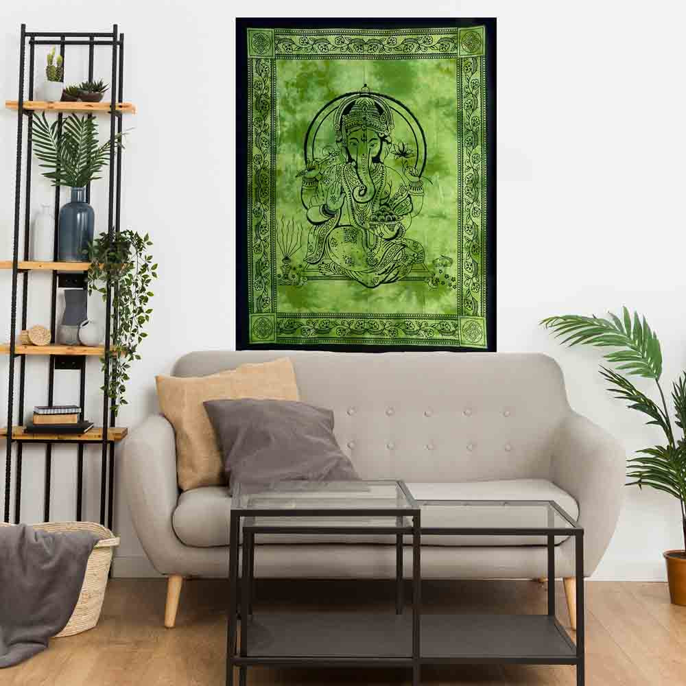 Green Tie Dye Ganesha Small Cotton Screen Printed Wall Hanging Tapestry