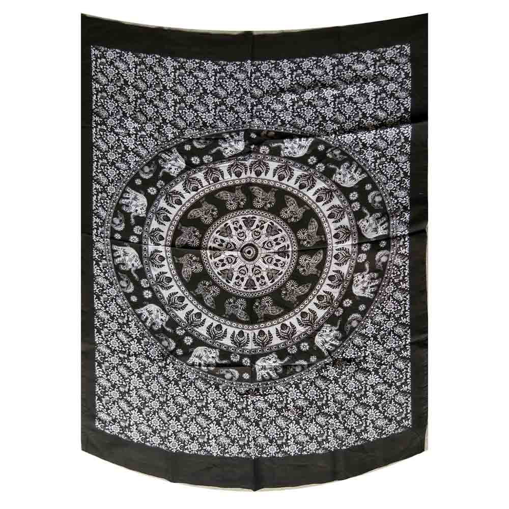 Black and White Elephant Peacock Mandala Gumbad Small Cotton Screen Printed Wall Hanging Tapestry
