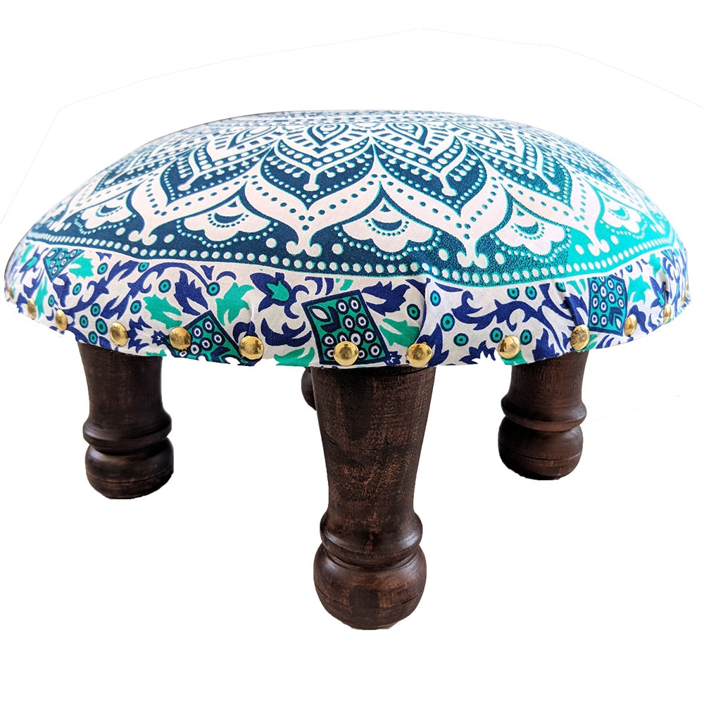 White Green Screen Printed wooden Footrest Stool