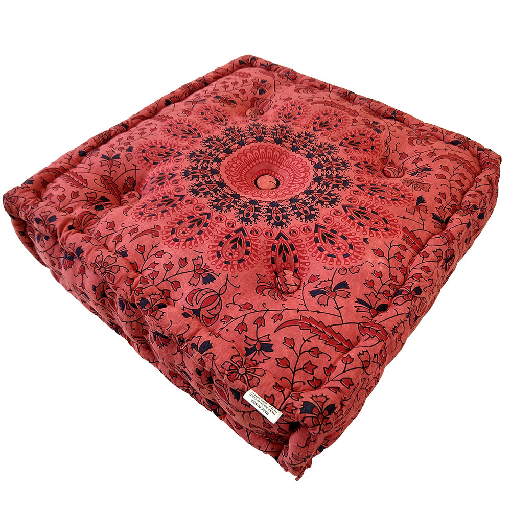 Stone Wash Red Screen Print Cotton Meditation Cushion